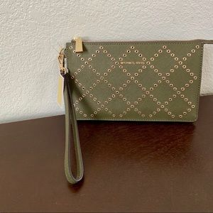 Michael Kors Leather Studded Wristlet- Olive